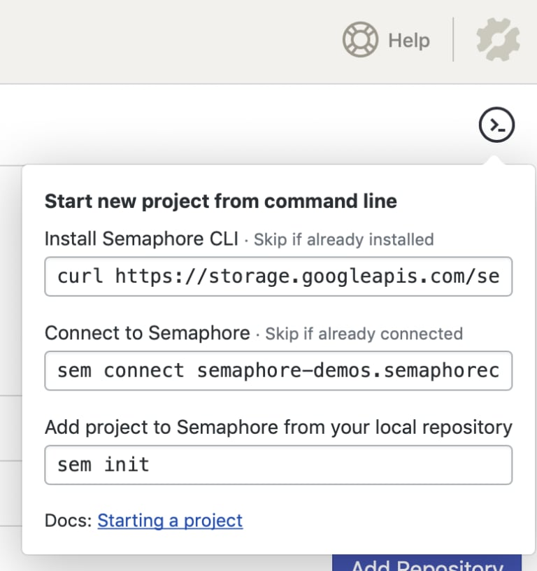Finding the instructions to install Semaphore CLI
