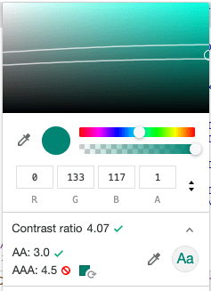 Chrome console's color picker