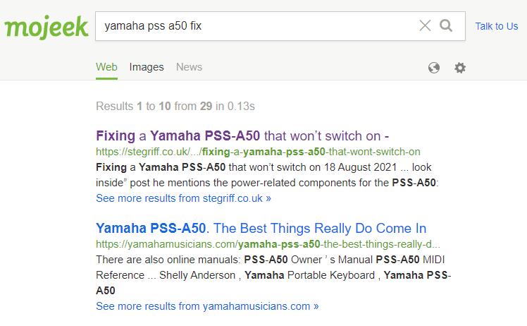 Mojeek search results