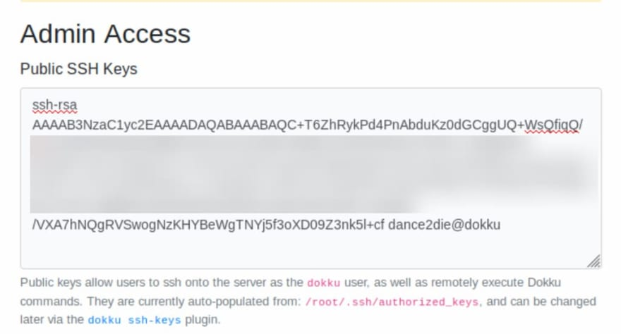 Paste SSH public key