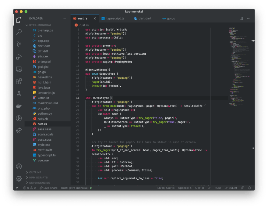 Rust syntax highlight screenshot