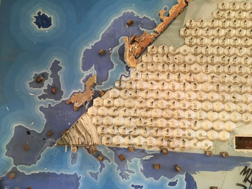 Europe map with lights