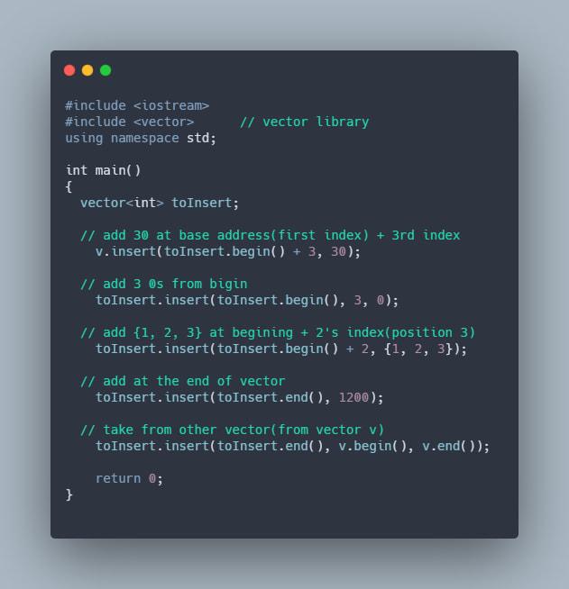 Insert Elements in vector