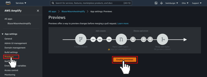"""AWS Amplify Console previews section with a big button in the middle """"Enable previews"""""""