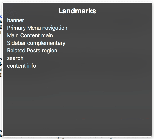 An example of the landmarks menu in macOS Voiceover