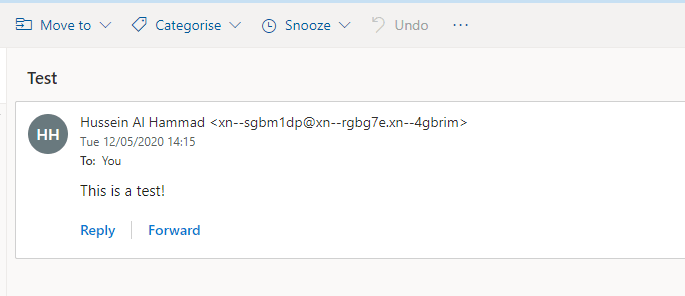 Outlook - received email from IDN with Punycode