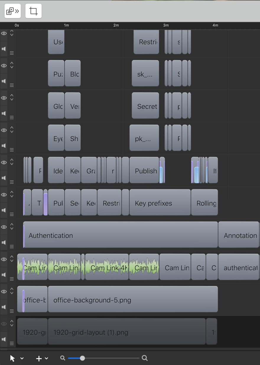 Screenflow editing track, lots of tracks showing animation objects