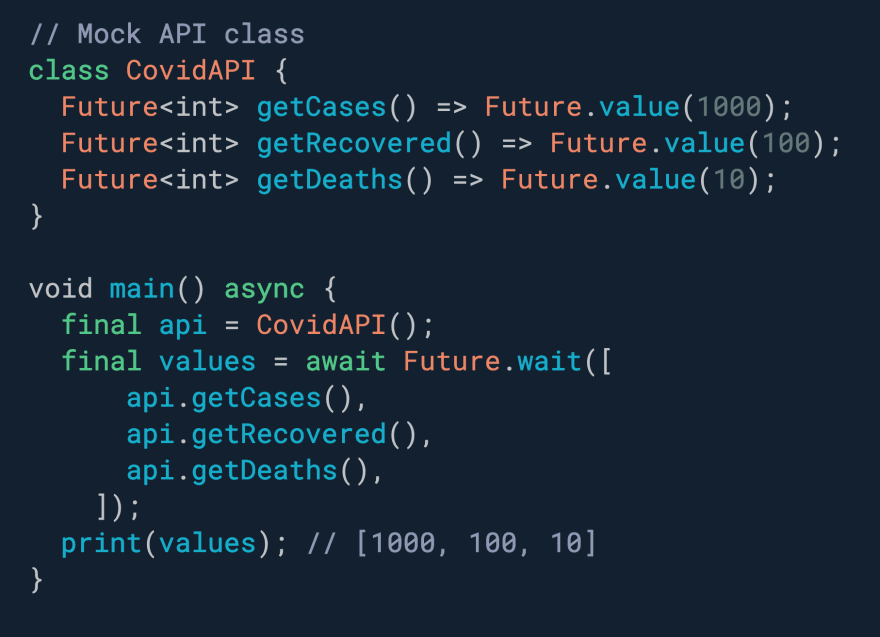 Need to execute multiple Futures concurrently? Use Future.wait.