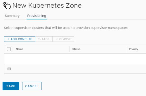 New Kubernetes Zone - Add Kubernetes zone - Provisioning