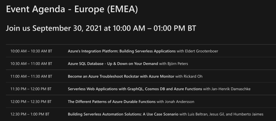 Schedule for the Azure Serverless Conference: Europe Edition