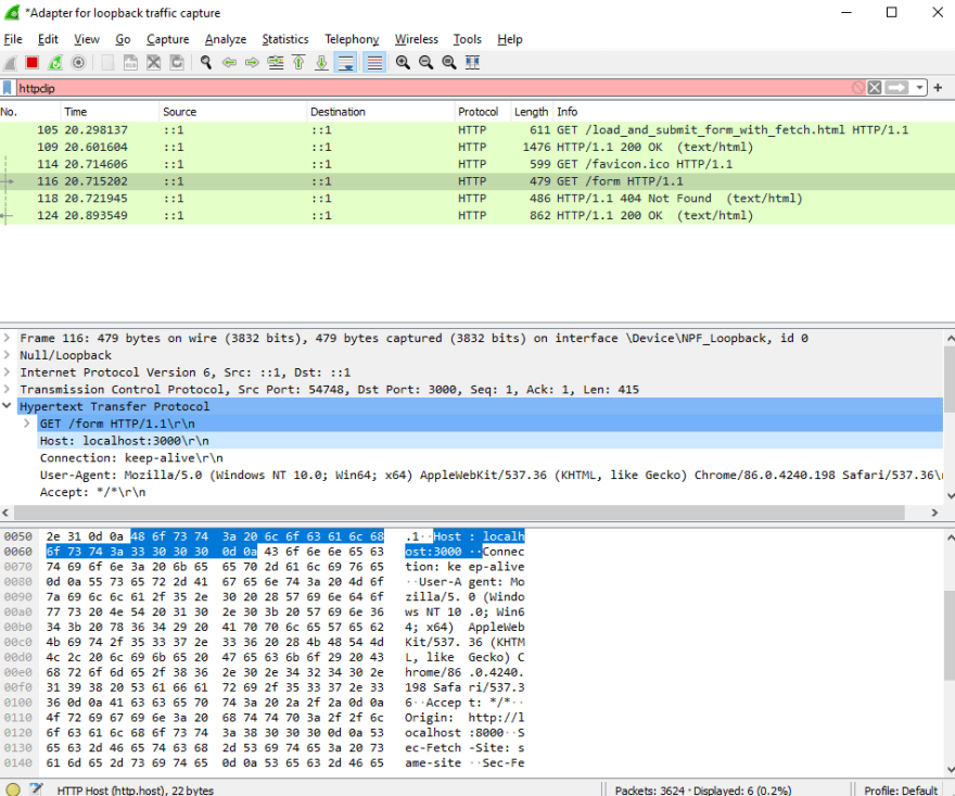 wireshark trace of fetch request being sent