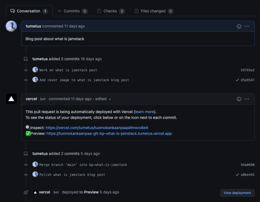 Vercel bot automatically creates preview build for pull request