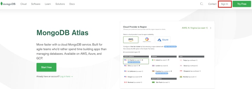 Fig 1: Página principal de MongoDB Atlas.