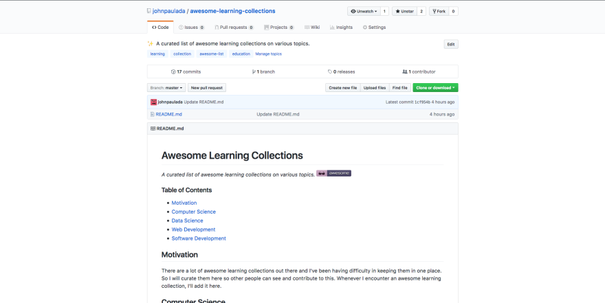 Awesome Learning Collections Screenshot