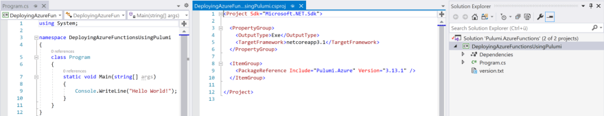 Empty .NET Core CLI project with dependency to the Pulumi.Azure nuget