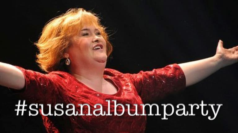 #susanalbumparty with Susan Doyle arms opened wide meme