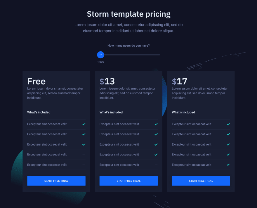 Pricing component from Storm template