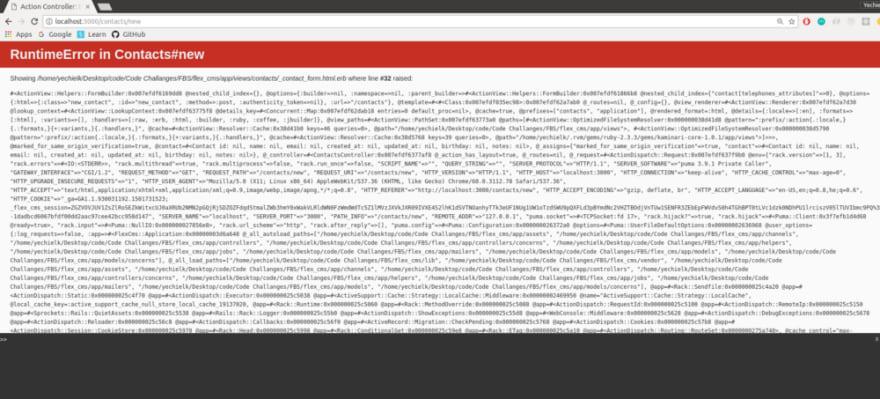 FormBuilder error screen