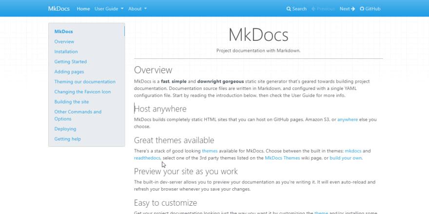 Documentation Generator MkDocs - Homepage screen
