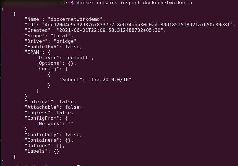 docker network inspect