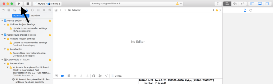 xcode project with arrow pointing to run button