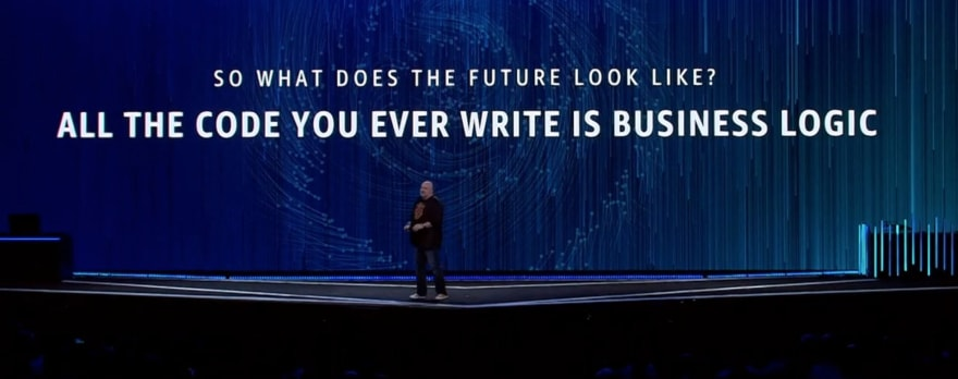 A conference talk slide with 'So what does the future look like? All the code you ever write is business logic'