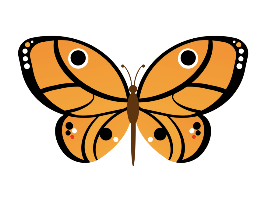 Cartoon of a butterfly with lines and dots
