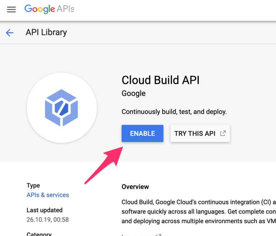 Cloud Build API enabling