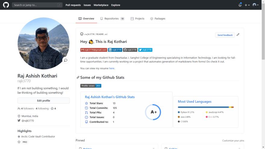 GitHub README Profile Creator Sample