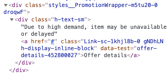 "Screen capture of the HTML code for the ""Offer details"" link showing class names like PromotionWrapper or offer-details"
