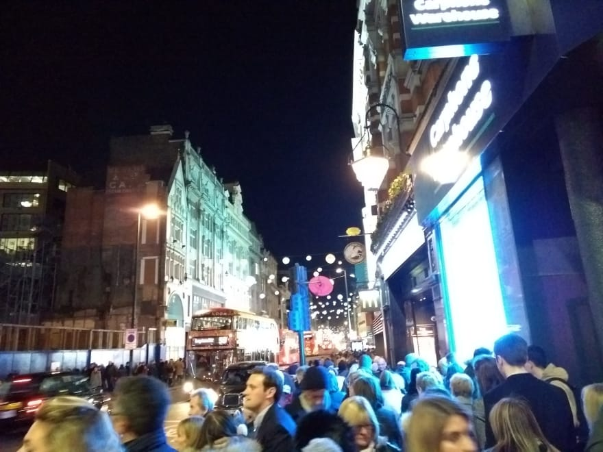 Crowd on the sidewalk