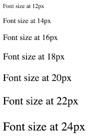 The same sentence at different font sizes from 12px to 24px
