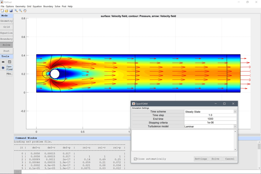 MATLAB GUI for CFD simulations