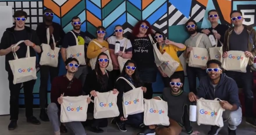 Bootcampers wearing google sunglasses