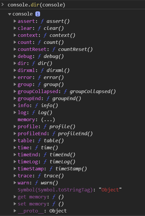 Example of console.dir()