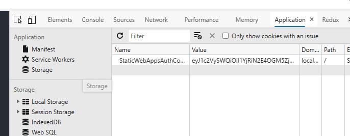 Cookies in browser dev tools