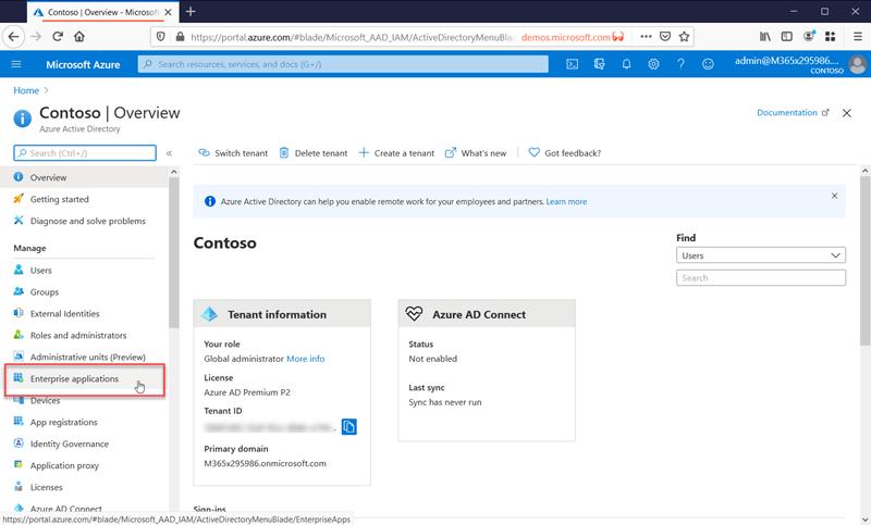 Enterprise Applications in Azure Active Directory