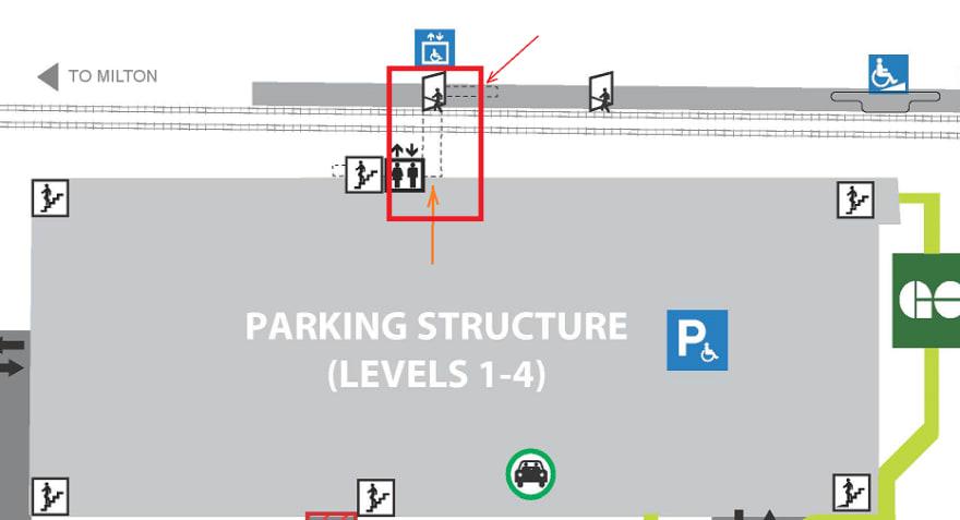 Parking Building and train platform