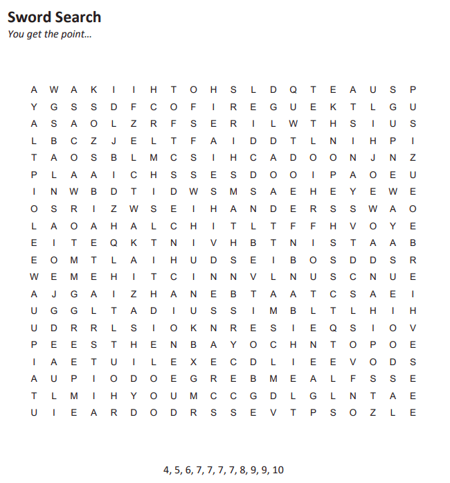 Puzzle five looks like a huge word search with eleven comma-separated numbers between 4 and 10 below.