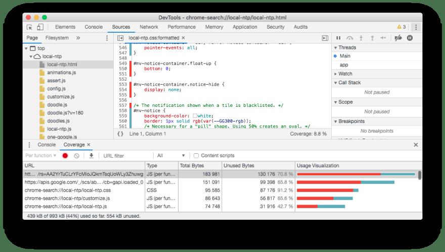 Unused CSS in Chrome