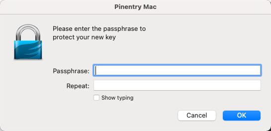 gpg generate new key - provide passphrase - pinentry mac