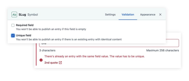 Screenshot of a user enabling a unique field in the Contentful web app