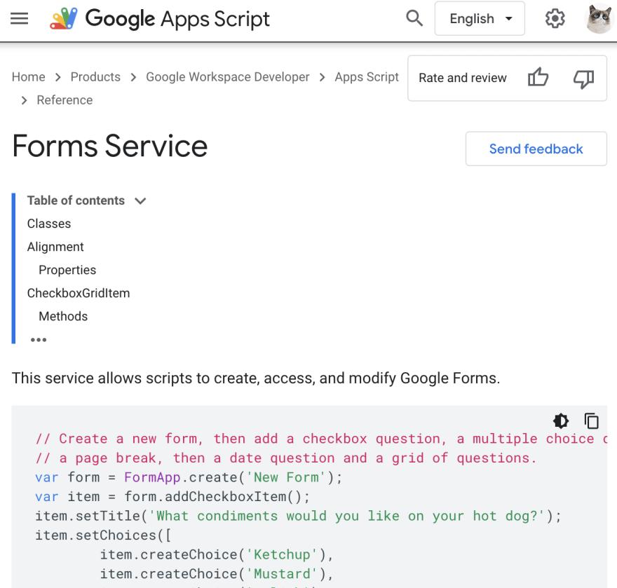 Apps Script Form Service