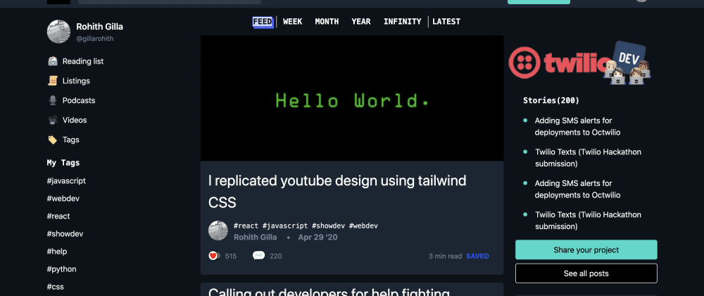 Cover image for Dev.to clone with tailwind CSS