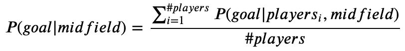 P(goal|midfield) = \frac{\sum_{i = 1}^{\#players}{P(goal|players_i,midfield)}}{\#players}