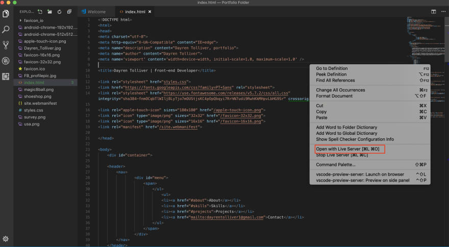 Screenshot of right-clicking to open Live Server