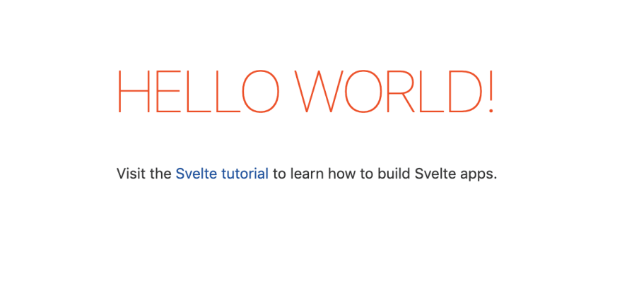 A big Hello World sign followed by a prompt to visit svelte.dev to learn more about Svelte