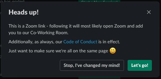 Screenshot of coworking alert modal in Slack