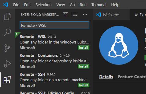 visual studio code remote wsl extension