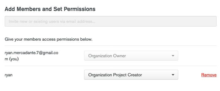 Create organization project creator